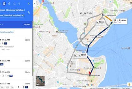 Google Haritalar, İstanbul ve Ankara'da toplu taşıma bilgilerini göstermeye başladı